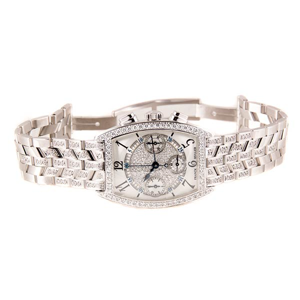 Часы Franck Muller Cintree Curvex Chronograph White Gold Diamond фото