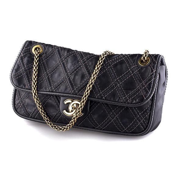 Аксессуары Chanel Wild Stitch Quilted Black Leather Bag фото