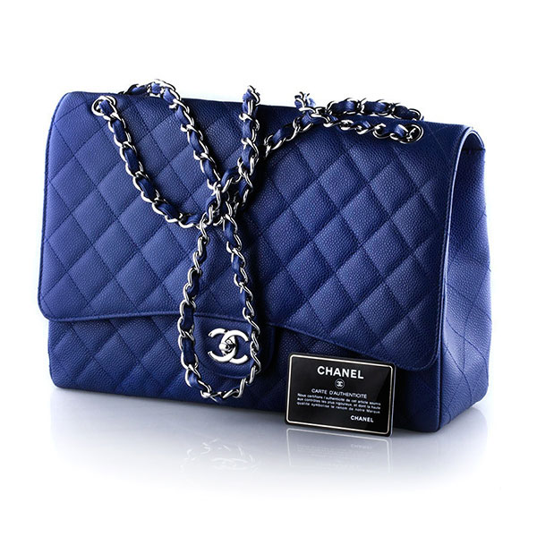 Аксессуары Chanel Cobalt Blue Easy Caviar Jumbo Classic Flap bag фото