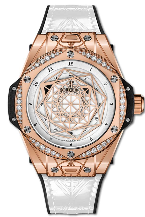 Фото женских часов Hublot Big Bang One Click Sang Bleu King Gold White Diamonds