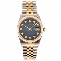 Часы Rolex Datejust Gold/Steel Blue Dial Diamond фото