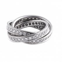 Ювелирные украшения Cartier Trinity 18K White Gold Full Diamond Pave Rolling Band Ring фото